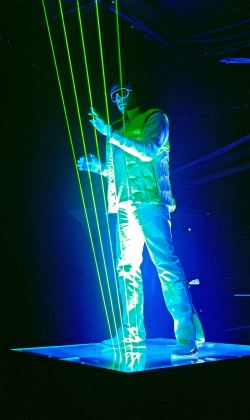 Fred playing with Extreme Beam lasers