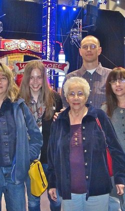 with family at the circus