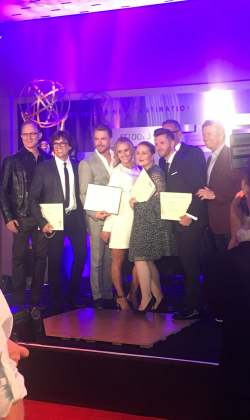 Emmy reception for Fred, Mandy Moore, Derek Hough and Travis Wall