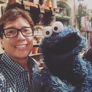 Fred with new grouchy friend Cookie Monster